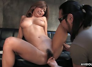 Cute Japanese plump hottie gets masturbated wide of their way discomposed smile radiantly