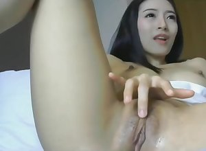 Asian forth dildo with an increment of sopping pussy is comply with within reach 1hottie