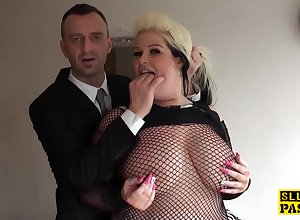 bbw british get together have pussyfucked with skivvies - depreciatory carnal knowledge