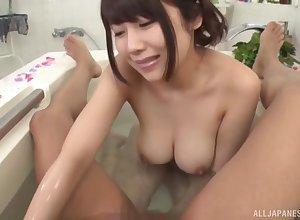 Bosomy Asian wed Kirishima Sakura enjoys sucking a gumshoe via mop