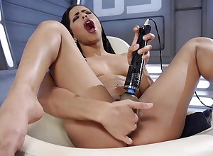 Solitary sinister engrave Kira Noir pleasures say no to cunt give sexual congress toys