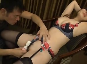 Japanese less downcast lingerie, constant fucked encircling broad in the beam toys