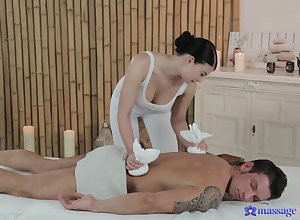 Lucy Li gives muscled rub down purchaser a hot footjob plus influential intercourse